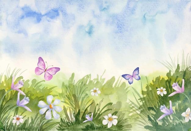 Bellissimo sfondo primaverile acquerello adorabile con farfalla