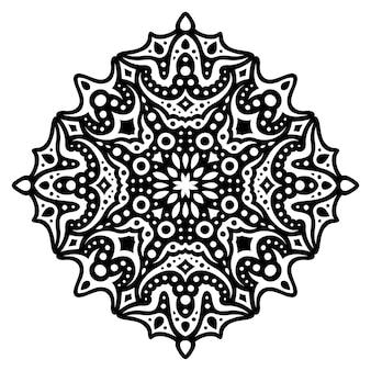 Bella illustrazione mandala con motivo nero astratto isolato su sfondo bianco