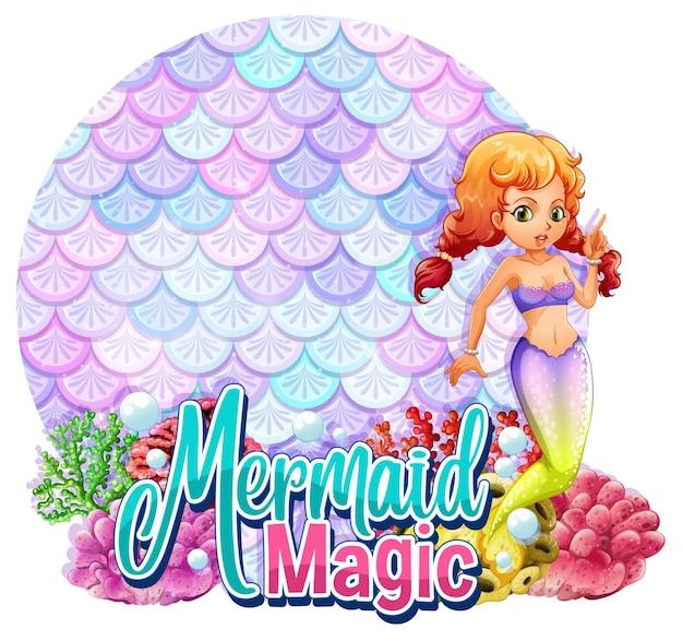 Bellissimo personaggio di cartone a sirena con banner di squame pastello vuoto isolato
