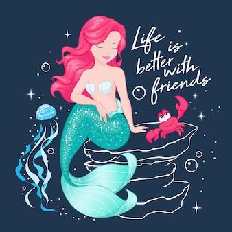Bellissima sirena al buio. sirena carina con meduse e granchi.