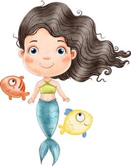 Bellissima sirena con lunghi capelli neri circondata da pesci isolati su bianco