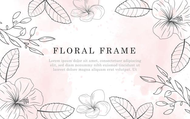 La bellissima cornice floreale minimalista color acqua e lo stile disegnato a mano