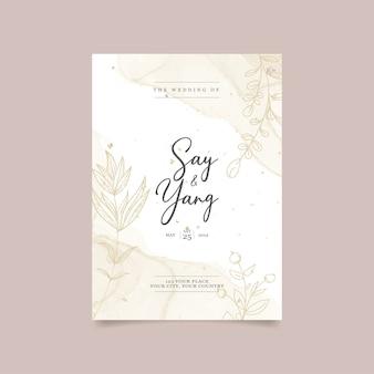Modello di carta di inviti di nozze floreali bello e minimalista