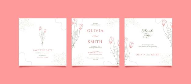 Post di instagram rosa bella e minimalista per il matrimonio
