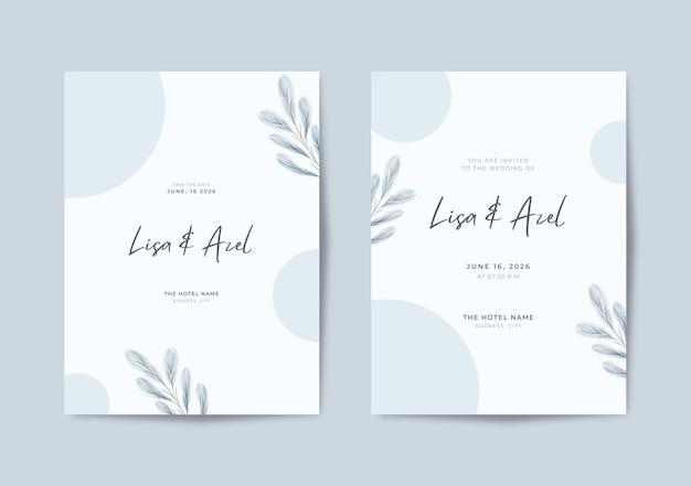 Bellissimo modello di invito a nozze minimalista