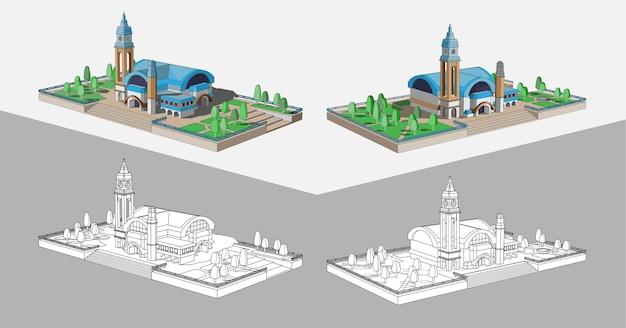 Bellissimo modello di un edificio con un tetto blu