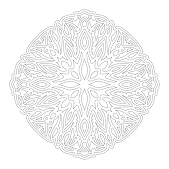 Bella illustrazione lineare monocromatica per libro da colorare con isolato sul modello astratto sfondo bianco