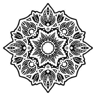 Bella illustrazione monocromatica del tatuaggio tribale con motivo floreale nero astratto isolato su sfondo bianco