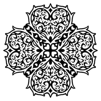 Bellissimo tatuaggio tribale monocromatico illustrazione vettoriale con motivo nero astratto isolato con forme di cuore