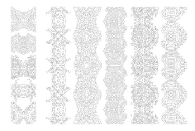 Bella illustrazione vettoriale monocromatica per la pagina del libro da colorare per adulti con set di pennelli ornati astratti isolati su sfondo bianco
