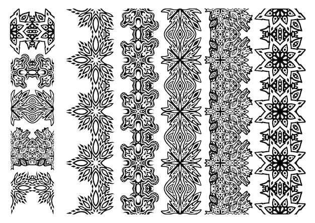 Bella illustrazione vettoriale monocromatica con fantasia astratta disegnata a mano pennelli set isolato su sfondo bianco
