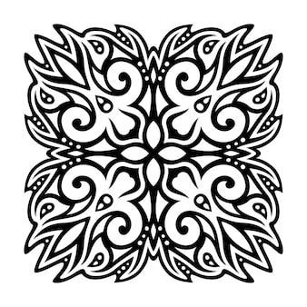Bella illustrazione vettoriale monocromatica con motivo vintage nero isolato su sfondo bianco