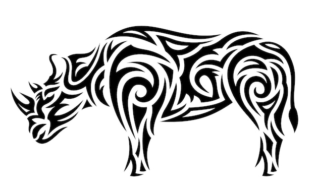 Bella illustrazione di tatuaggio tribale vettoriale monocromatica con silhouette di rinoceronte stilizzato nero isolato su sfondo bianco