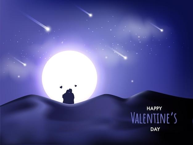 Bellissimo sfondo deserto al chiaro di luna con silhouette coppia seduta in occasione del giorno di san valentino.