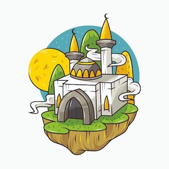 Bella moschea con disegnato a mano