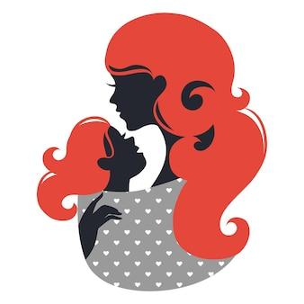 Bella silhouette di madre con bambino in una fascia