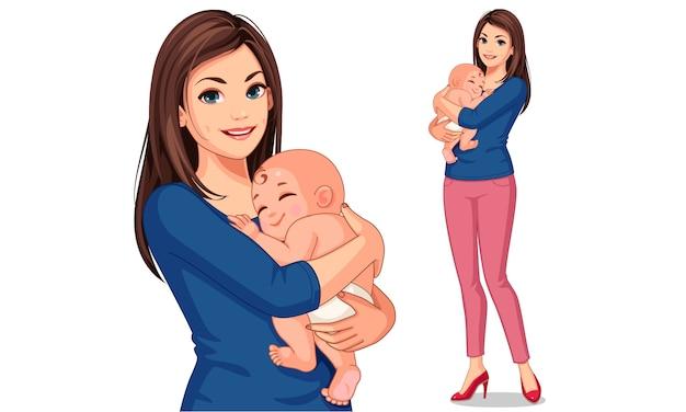 Bella madre con il suo piccolo bambino carino Vettore Premium