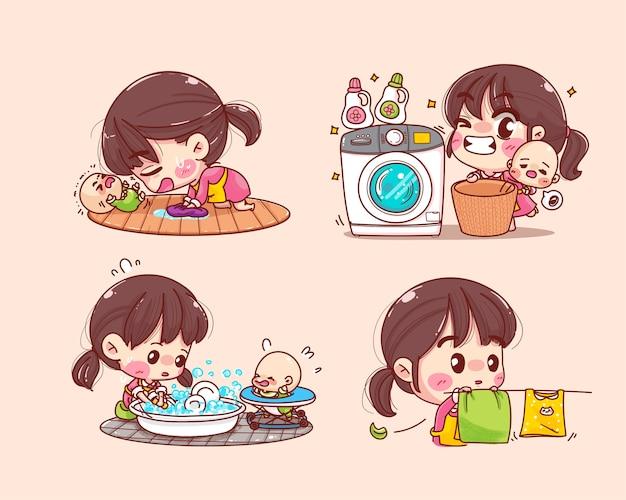 Bella madre che lavora a casa con l'illustrazione stabilita del fumetto della raccolta del bambino
