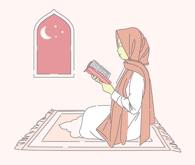 Bella donna musulmana che legge santo sulla stuoia di preghiera illustrazione disegnata a mano di vettore ragazza felice che indossa l'hijab che prega di notte
