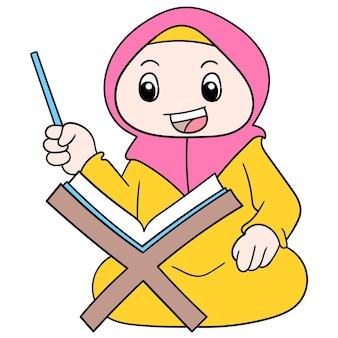 Una bella donna musulmana che indossa un hijab seduta a leggere il libro sacro, illustrazione vettoriale. scarabocchiare icona immagine kawaii.