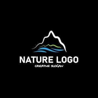 Bellissimo logo naturale il logo contiene elementi della costa del mare e delle montagne