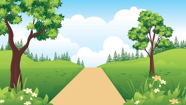 Bellissimo paesaggio naturale con strada di campagna, paesaggio estivo con stile piatto