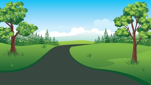 Bellissimo paesaggio naturale con strada, stile piatto paesaggio estivo