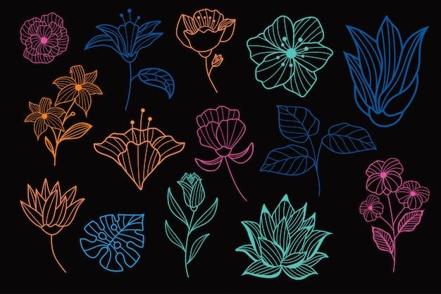 Bella collezione floreale disegnata a mano al neon
