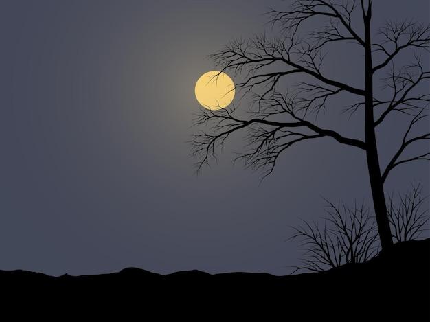 Bella illustrazione notturna con albero al chiaro di luna