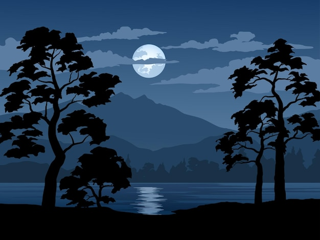 Bellissimo paesaggio notturno con montagne e fiume