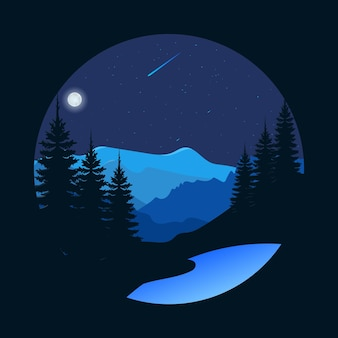 Bella vista notturna nella foresta