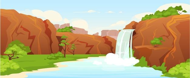 Bella illustrazione di colore piatto oasi. cascata naturale, parco paesaggio cartone animato 2d con vegetazione sullo sfondo. pittoresco giardino, riserva naturale. luogo di ricreazione idilliaco, luogo di vacanza