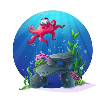 Bellissimo polpo su rocce, coralli e barriere coralline colorate sott'acqua. illustrazione vettoriale del paesaggio di mare.