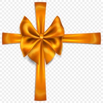 Bellissimo fiocco arancione con nastri trasversali con ombra, isolato su sfondo trasparente. trasparenza solo in formato vettoriale