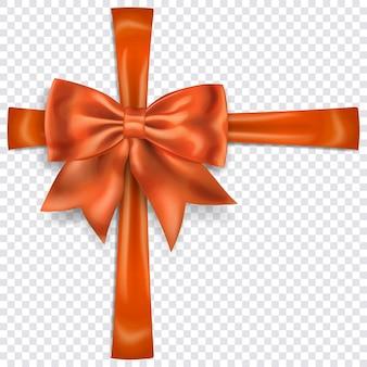 Bellissimo fiocco arancione con nastri trasversali con ombra su sfondo trasparente. trasparenza solo in formato vettoriale
