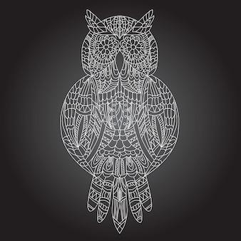 Bella grafica ornamentale di gufo su sfondo nero