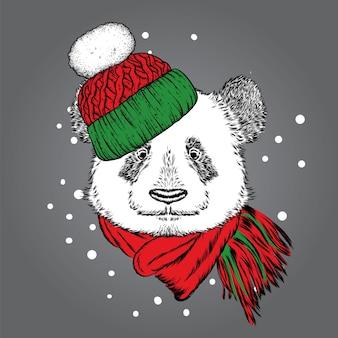 Bellissimo panda in un cappello di natale.