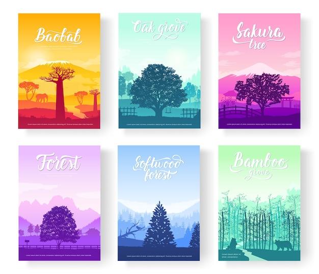 Bellissimi parchi da tutto il pianeta. alberi di foreste di paesaggio colorato.