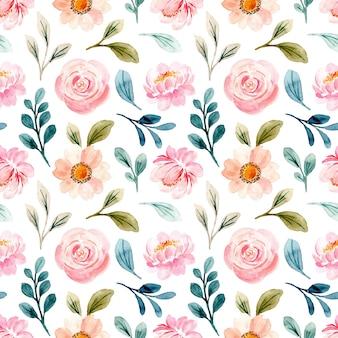 Bello reticolo senza giunte dell'acquerello floreale rosa pastello