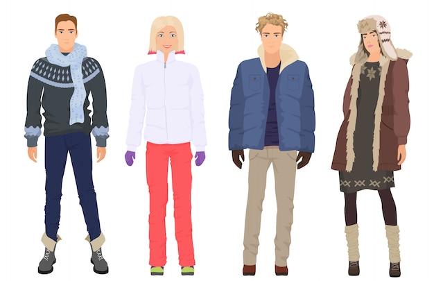 Belle persone in inverno vestiti casual caldi Vettore Premium