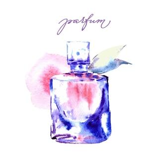 Bella bottiglia di profumo sfondo di bellezza e cosmetici modello vettoriale