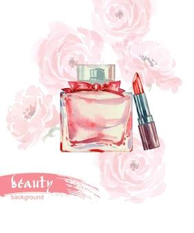 Bella bottiglia di profumo illustrazione vettoriale acquerello disegnata a mano