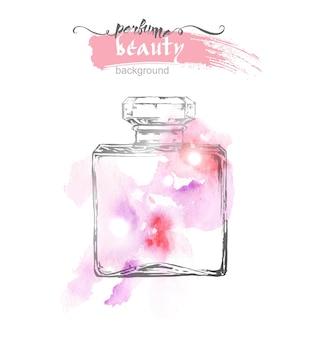 Bella bottiglia di profumo su sfondo ad acquerello sfondo bello e alla moda