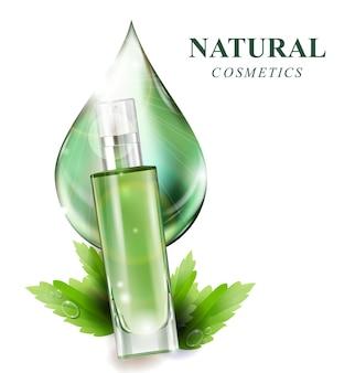 Bella bottiglia di profumo con un'essenza di lozione di prodotti cosmetici di gocce verdi