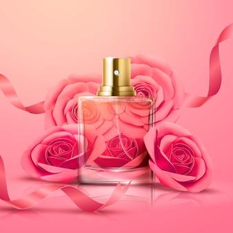 Bella bottiglia di profumo di vetro e decorazioni di rose rosa nell'illustrazione 3d