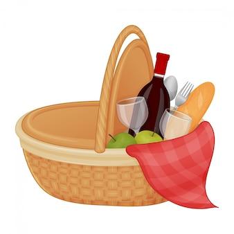 Bellissimo cestino da picnic con accessori su uno sfondo bianco. oggetto isolato su uno sfondo bianco. estate. stile cartone animato. oggetto per imballaggio, pubblicità, menu.