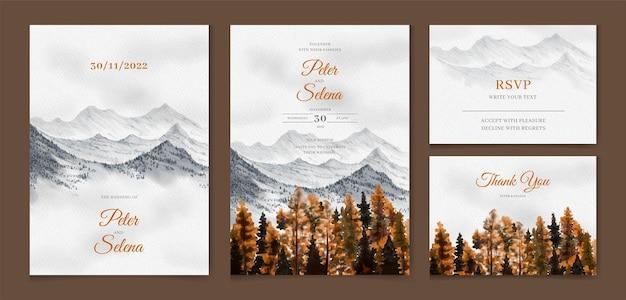 Bella foresta di pini in autunno in colline e montagne insieme dell'invito di nozze dell'acquerello