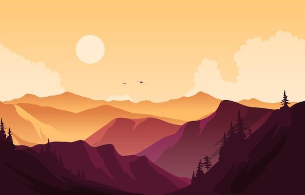 Illustrazione piana del paesaggio di panorama della montagna della bella foresta di pini