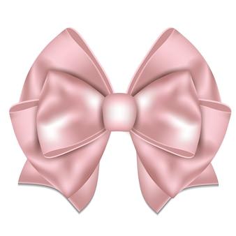 Bellissimo fiocco rosa su sfondo bianco. illustrazione.