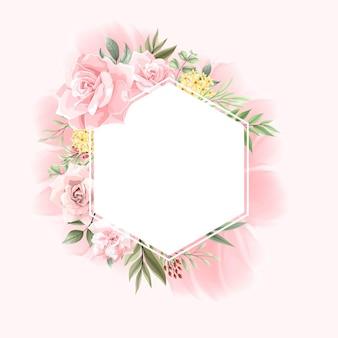 Bellissima collezione di bordi con cornice floreale rosa